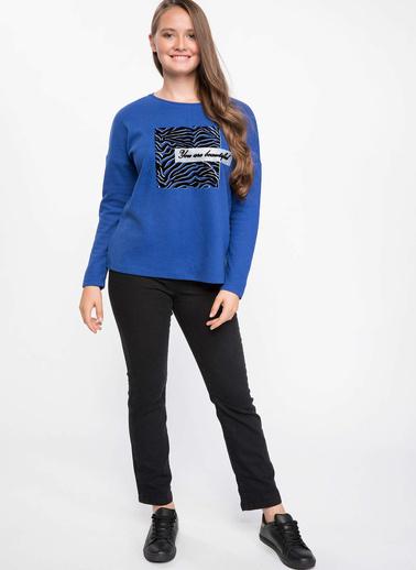 DeFacto Uzun Kollu Baskılı T-shirt Mavi